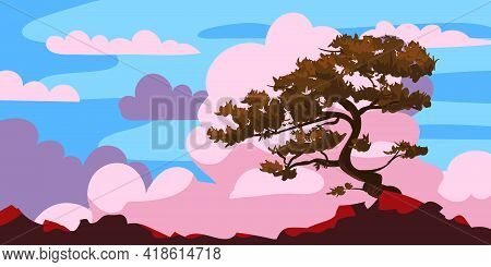Sunset Tree Silhouette On A Cliff, Clouds After Rain. Landscape Evening Panorama Horizon, Color, Dis