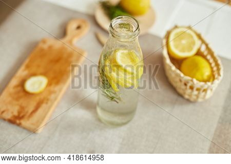 Glass Bottle Detox Healthy Water With Lemon And Rosemary