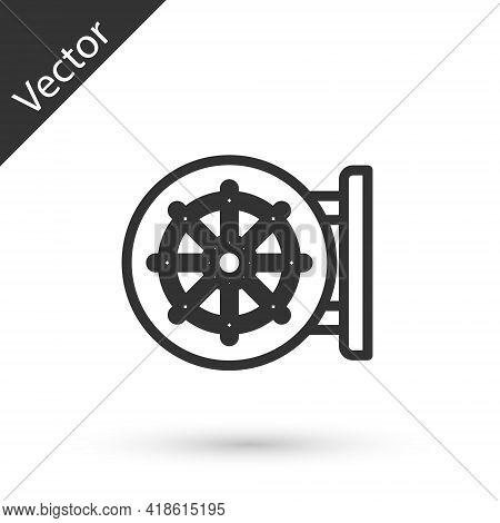 Grey Line Dharma Wheel Icon Isolated On White Background. Buddhism Religion Sign. Dharmachakra Symbo