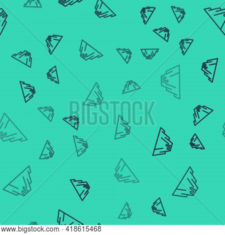Black Line Volcano Eruption With Lava Icon Isolated Seamless Pattern On Green Background. Vector