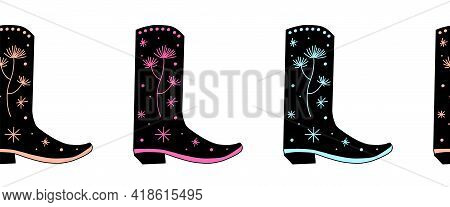 Cowgirl Boots Seamless Vector Border. Repeating Horizontal Pattern Cowboy Shoes. Use For Fabric Trim