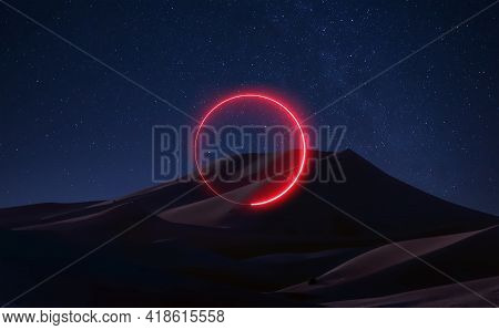The Planet Mars. Fantastic Landscape Space Sky, Reflection Of Neon Light. Astronauts, Gravity, Stars