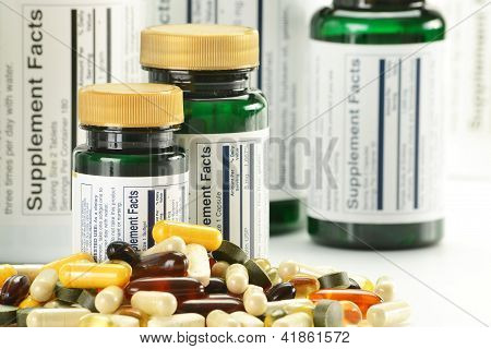 Composition With Dietary Supplement Capsules And Containers