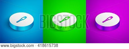 Isometric Line Usb Cable Cord Icon Isolated On Blue, Green And Purple Background. Connectors And Soc