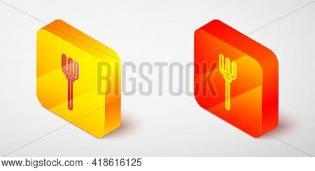 Isometric Line Garden Pitchfork Icon Isolated On Grey Background. Garden Fork Sign. Tool For Horticu