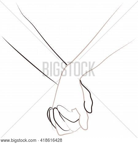 Line Hands. Anti Racism, Racial Equality, Different Colors Same Blood Concept. Black Lives Matter, S