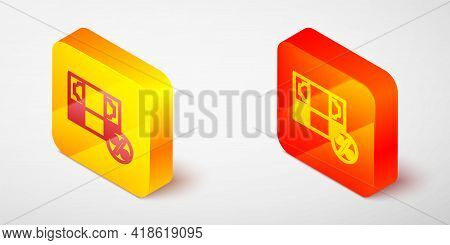 Isometric Line Money Percent Icon Isolated On Grey Background. Percent Loyalty Wallet Sign. Yellow A