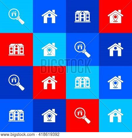 Set Search House, House, And Location With Icon. Vector