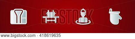 Set Bathrobe, Sauna Bench With Bucket, Man In The Sauna And Mittens Icon. Vector