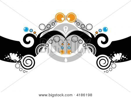 Abstract Curly Floral Design
