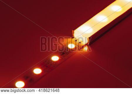led strip orange light in aluminum channel diffuser