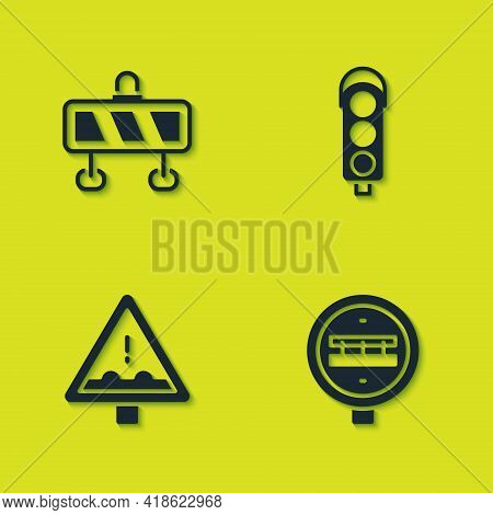 Set Road Barrier, Railroad Crossing, Uneven Ahead Sign And Traffic Light Icon. Vector
