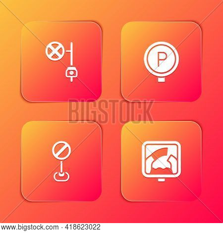 Set Stop Sign With Camera, Parking, And Drawbridge Ahead Icon. Vector
