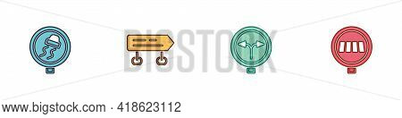 Set Slippery Road Traffic, Road Sign, Fork In The And Pedestrian Crosswalk Icon. Vector