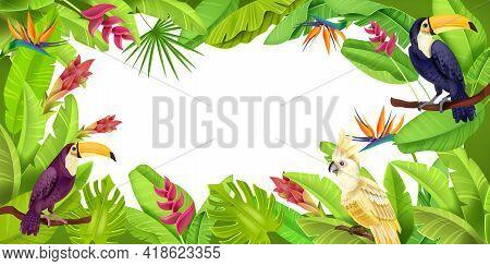 Jungle Tropical Frame, Exotic Green Paradise Border, Toucan, Parrot, Banana Leaves, Flowers, Monster