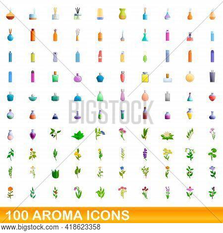 100 Aroma Icons Set. Cartoon Illustration Of 100 Aroma Icons Vector Set Isolated On White Background