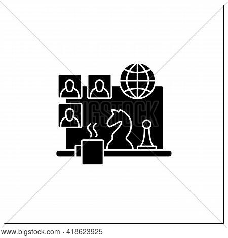 Team Building Games Glyph Icon. Virtual Gameplay. Online Communication. Friendly Atmosphere.chess. V