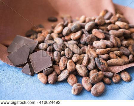 Raw Cacao Beans And Chocolate Bar. Natural Antidepressant And A Super Food
