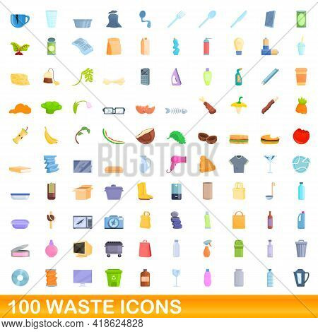 100 Waste Icons Set. Cartoon Illustration Of 100 Waste Icons Vector Set Isolated On White Background