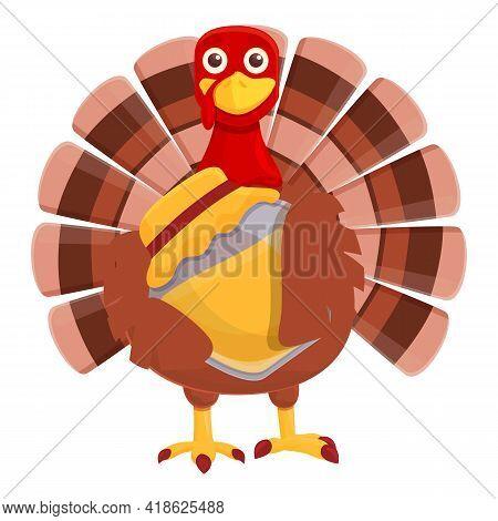 Thanksgiving Turkey With Honey Jar Icon. Cartoon Of Thanksgiving Turkey With Honey Jar Vector Icon F