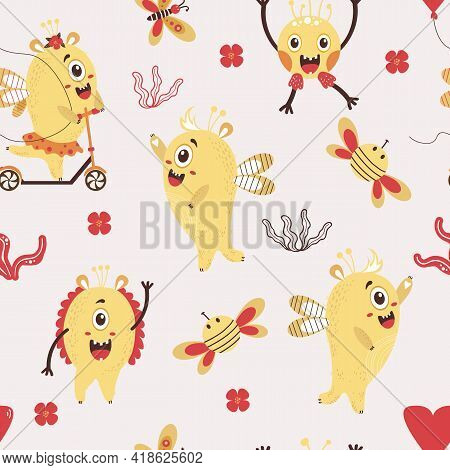 A Seamless Pattern With Fantastic Monsters. Cute Yellow Monsters - A Girl On A Scooter And Boy With