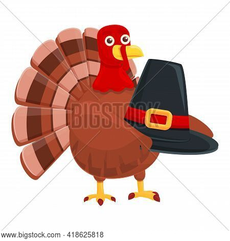 Thanksgiving Turkey With Hat Icon. Cartoon Of Thanksgiving Turkey With Hat Vector Icon For Web Desig