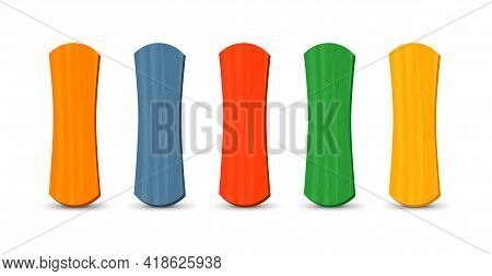 Set Of Realistic Popsicle Stircks. Ice Lolly Sticks, Vector Illustration, Summer Season.