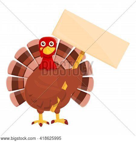 Thanksgiving Turkey Take Banner Icon. Cartoon Of Thanksgiving Turkey Take Banner Vector Icon For Web