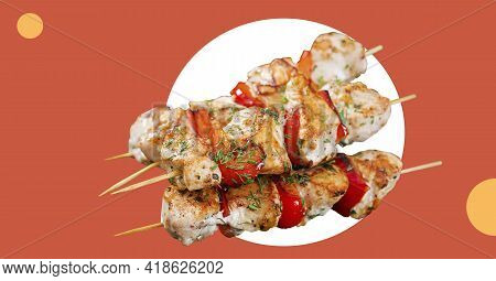 Grilled Chicken Skewers With Tomatoes Isolated. Meat Pork, Chicken Or Turkey Shish Kebab. Collage Ba
