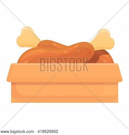 Cooked Chiken Icon. Cartoon Of Cooked Chiken Vector Icon For Web Design Isolated On White Background