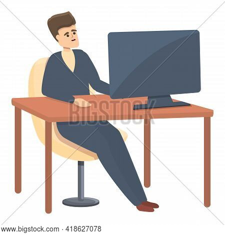 Rush Job On Computer Icon. Cartoon Of Rush Job On Computer Vector Icon For Web Design Isolated On Wh