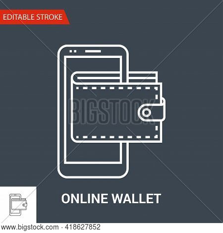Online Wallet Icon. Thin Line Vector Illustration - Adjust Stroke Weight - Expand To Any Size - Easy