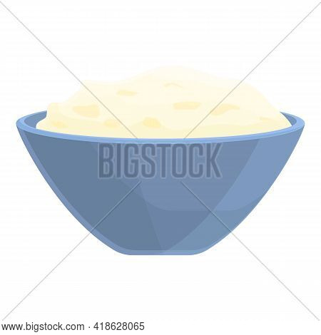 Bowl Rice Icon. Cartoon Of Bowl Rice Vector Icon For Web Design Isolated On White Background
