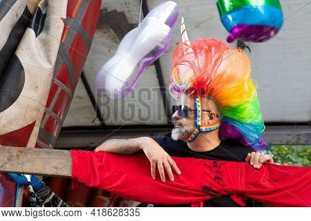 Lgtbq Pride Festival Celebration. Barcelona - Spain. June 29, 2020: Parade Participant In A Bright M