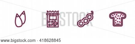 Set Line Seed, Green Peas, Pack Full Of Seeds Of Plant And Bread Toast Icon. Vector
