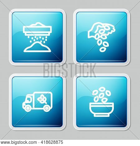Set Line Sifting Flour, Seed, Flour Truck And Seeds Bowl Icon. Vector