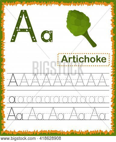 Vector Illustration Of Exercises With Cartoon Vocabulary For Kids. Colorful Letter A Uppercase And L