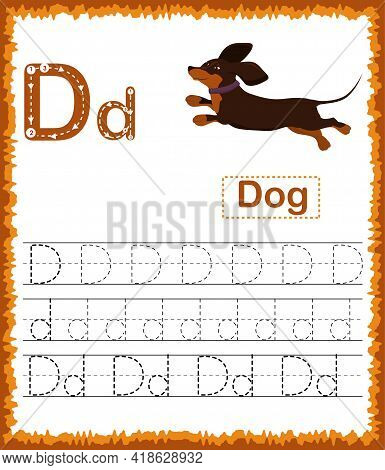 Vector Illustration Of Exercises With Cartoon Vocabulary For Kids. Colorful Letter D Uppercase And L