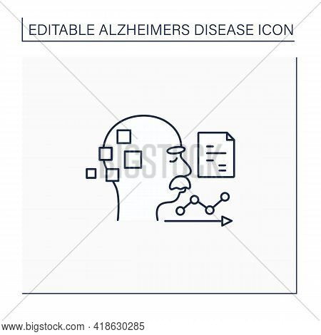 Statistics Line Icon. Statistic Alzheimer Diseases. Sick People Number. Neurologic Disorder Concept.