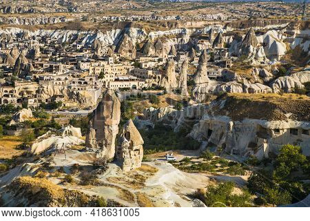 Goreme, Cappadocia- October 22, 2020 : Amazing rocks in Love Valley in Cappadocia, Goreme, Turkey.