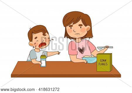 Grumpy Sister Eating Corn Flakes And Crying Little Brother With Milk Bottle Wanting The Same Vector