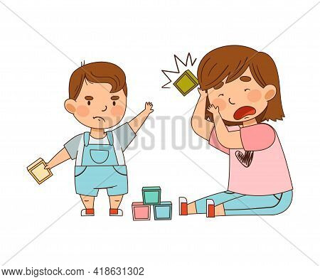 Warring Little Brother Throwing Toy Block To His Sister As Family Relations Vector Illustration