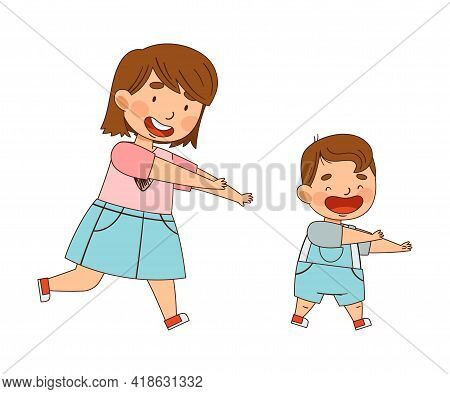 Sister Running After Her Little Brother Playing As Family Relations Vector Illustration