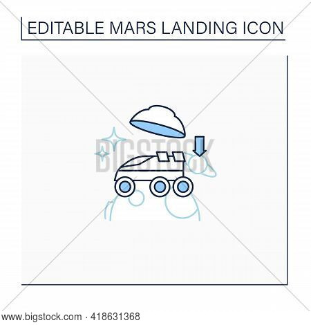 Landing On Surface Line Icon. Landing Rover On Planet. Research Uninhabited Land. Mars Landing Conce
