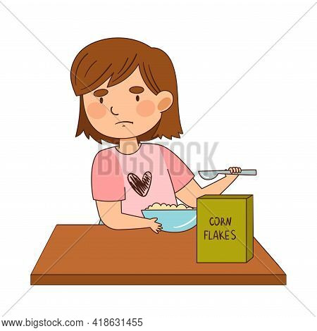 Little Girl Character Eating Corn Flakes With Grumpy Face Showing Dislike Vector Illustration