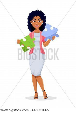 African American Business Woman Holding Two Pieces Of Puzzle. Beautiful Businesswoman Cartoon Charac