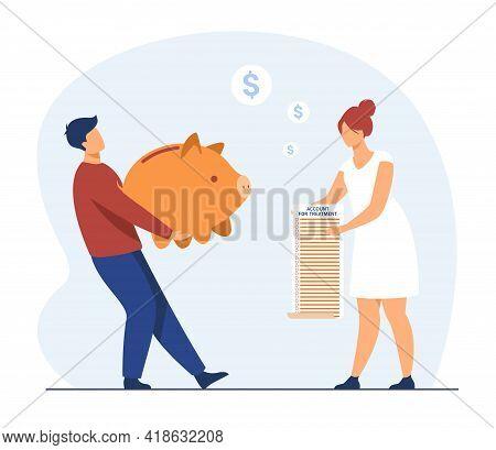 Man Bringing Piggy Bank For Medical Bill. Cartoon Character With Moneybox, Treatment Cost Flat Vecto