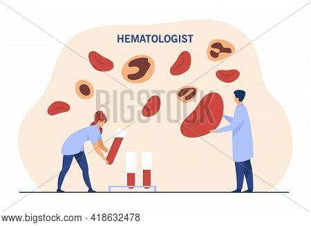 Hematologists Analyzing Blood Tests. Tiny Doctors Looking At Red Blood Cells Flat Vector Illustratio