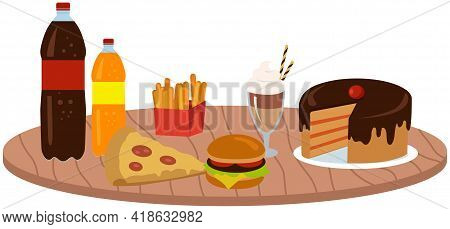 Fast Food Meal Set Vector Illustration. Classic Cheese Burger With Grilled Meat, French Fries, Cake,