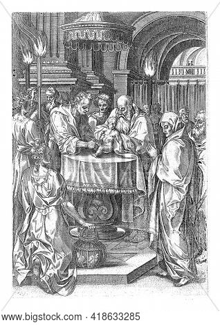 The circumcision of Christ during the day of his naming. In the temple, a priest holds the Christ child, while a temple servant circumcises the child.